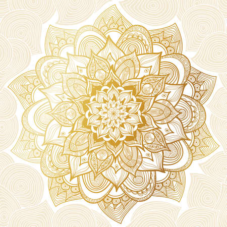 gold swirl: Vector vintage pattern in Eastern style. Ornate line art element. Ornamental floral pattern for wedding invitations, greeting cards. Traditional golden decor. Mandala.