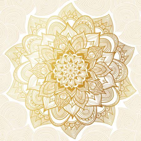 Wektor archiwalne deseń w stylu wschodnim. Ozdobny elementem linii sztuki. Ozdobnych kwiatowy wzór na zaproszenia ślubne, karty okolicznościowe. Tradycyjny wystrój złoty. Mandala.