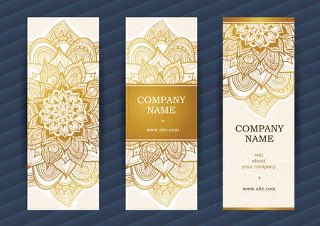 Or cartes ornées vintage. Outline décor floral. frame Modèle pour enregistrer la date et carte de voeux, invitation de mariage. Vecteur frontière avec place pour le texte. Facile à utiliser, en couches.