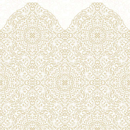 victorian pattern: Vector ornate seamless border in Eastern style. Light beige element for design. Ornamental vintage pattern for wedding invitations, birthday and greeting cards. Traditional pastel decor.
