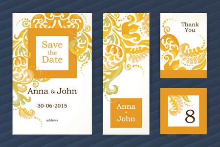 wedding frame: Bright vintage ornate cards. Orange floral decor. Concept autumn wedding invitation. Template frame for save the date and greeting card. Vector border with place for text. Easy to use, layered.