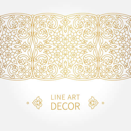 traditional pattern: Vector ornate seamless border in Eastern style. Line art element for design, place for text. Ornamental vintage frame for wedding invitations and greeting cards. Traditional golden decor.