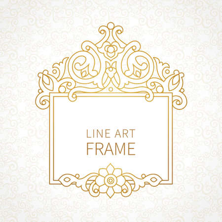 for text: Vector decorative line art frames for design template. Elegant element for design in Eastern style, place for text. Golden outline floral border. Lace decor for invitations, greeting cards, certificate.