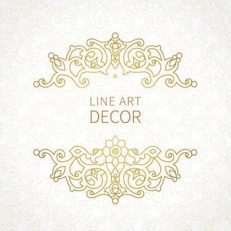 ベクトル東スタイルで花のビネット。デザインの華やかな要素です。テキストを配置します。結婚式の招待状、誕生日、グリーティング カード、証