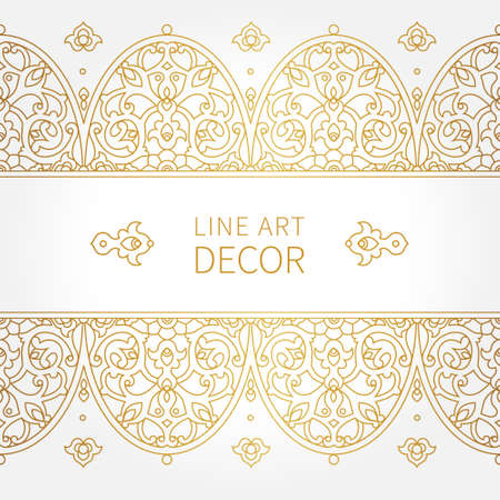 eastern religion: Vector ornate seamless border in Eastern style. Line art element for design, place for text. Ornamental vintage frame for wedding invitations and greeting cards. Traditional golden decor.