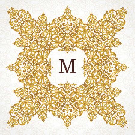 verschnörkelt: Vector goldenen Rahmen im viktorianischen Stil. Aufwändige Element für Design. Platz für Firmennamen. Ornament floralen Vignette für Visitenkarten, Hochzeitseinladungen, Zertifikat, Schablone, Monogramm. Illustration