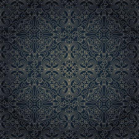 ベクトルの黄金の飾りとシームレスなパターン。東部のスタイルでデザインのビンテージ ライン アート要素です。装飾用レースの網目模様。華やかな花の装飾のための壁紙。伝統的なアウトラインの装飾です。暗いパターン塗りつぶし。