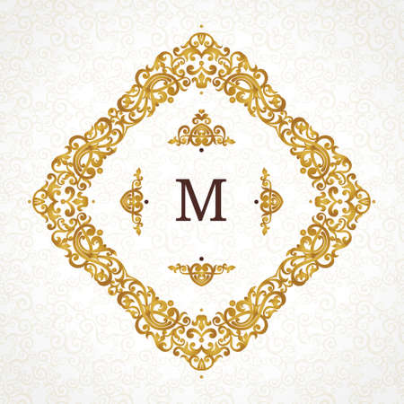 golden frame: Vector golden frame in Victorian style. Ornate element for design. Place for company name and slogan. Ornament floral vignette for business card, wedding invitations, certificate,   template.