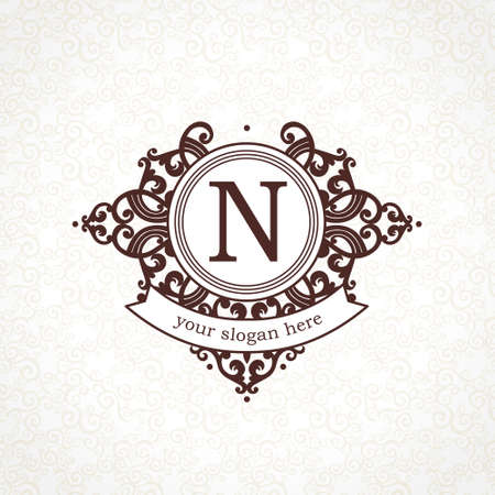 classic contrast: Vector   template in Victorian style. Ornate element for design. Place for company name and slogan. Ornament floral vignette for business card, wedding invitations, certificate, business sign. Illustration