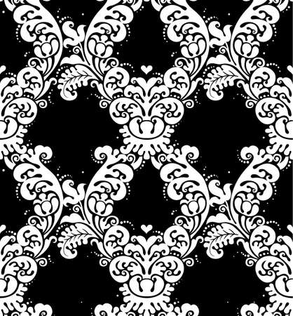 contrast floral: Vector seamless pattern with white ornament. Vintage element for design in Victorian style. Ornamental lace tracery. Ornate floral decor for wallpaper. Endless texture. Contrast pattern fill. Illustration