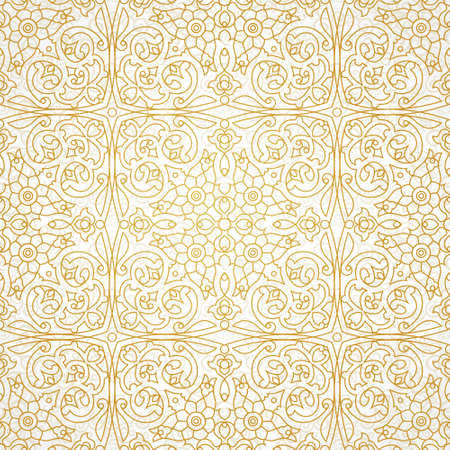 vintage element: Vector seamless pattern with golden ornament. Vintage element for design in Eastern style. Ornamental lace tracery. Ornate floral decor for wallpaper. Endless texture. Line art pattern fill.