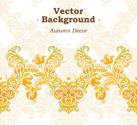 autumn motif: Vector ornate seamless border in Victorian style. Bright element for design, place for text. Concept autumn background. Ornamental vintage pattern for wedding invitations, birthday and greeting cards. Traditional pastel decor.