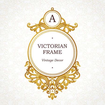 dorado: Marco de oro del vector en estilo victoriano. adornado elemento para el diseño. Lugar para el nombre de la empresa y el lema. Ilustración floral ornamento de la tarjeta de negocios, invitaciones de boda, certificado, plantilla de logotipo, monograma. Vectores