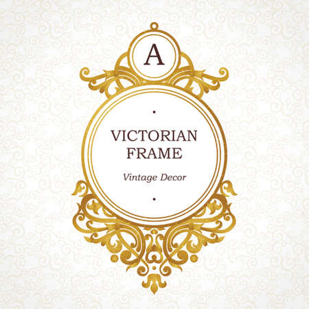 floral decoration: Vector golden frame in Victorian style. Ornate element for design. Place for company name and slogan. Ornament floral vignette for business card, wedding invitations, certificate, logo template, monogram. Illustration