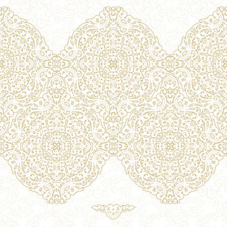ornamental pattern: Vector ornate seamless border in Eastern style. Light beige element for design. Ornamental vintage pattern for wedding invitations, birthday and greeting cards. Traditional pastel decor.