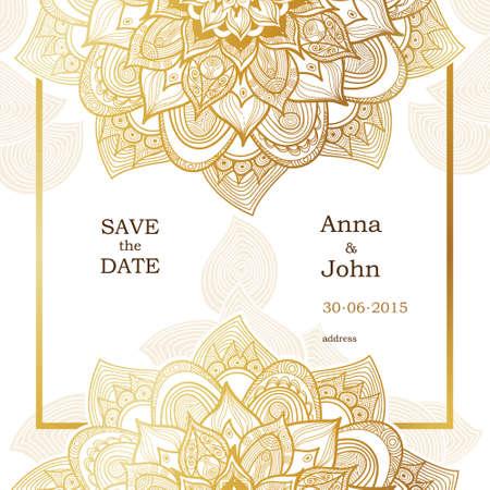 황금 빈티지 화려한 카드. 동부 스타일의 꽃 장식을 설명합니다. 날짜와 인사말 카드, 결혼식 초대를 저장하기위한 템플릿 프레임입니다. 텍스트에 대