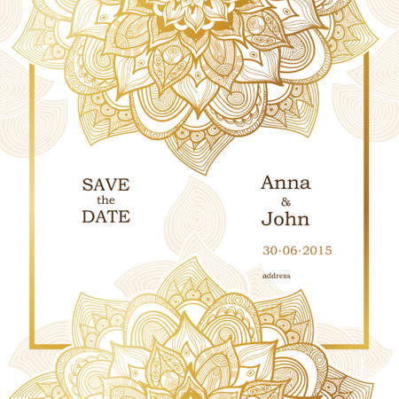Golden vintage ornate cards. Outline floral decor in Eastern style. Template frame for save the date and greeting card, wedding invitation. Vector line art border with place for text. Easy to use, layered.