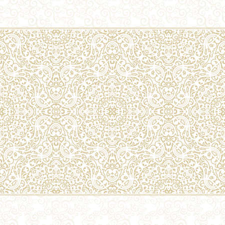 ecru: Vector ornate seamless border in Eastern style. Light beige element for design. Ornamental vintage pattern for wedding invitations, birthday and greeting cards. Traditional pastel decor.