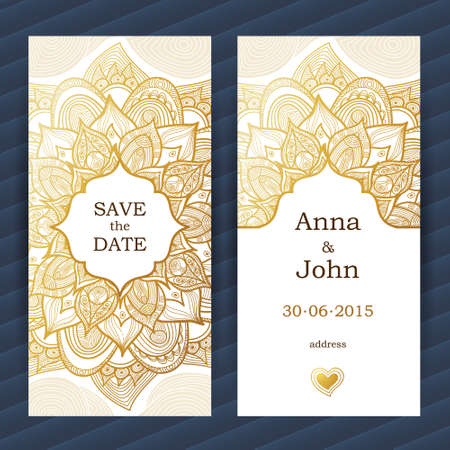 golden frame: Vintage ornate cards. Golden flower. Outline floral decor. Template frame for save the date and greeting card, wedding invitation. Vector border with place for text. Easy to use, layered.