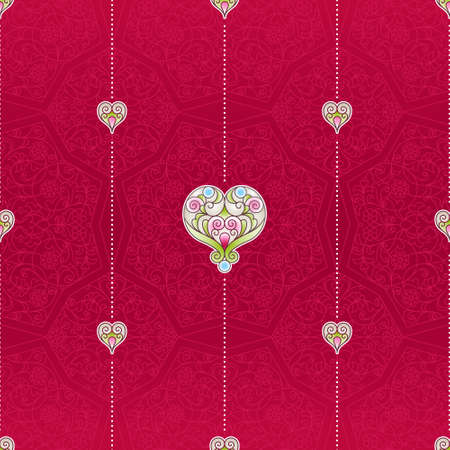 wallpaper floral: Vector red seamless pattern with ornate hearts. Vintage design element in Eastern style. Ornamental lace tracery. Floral oriental ornament for wallpaper. Traditional decor on red background. Illustration