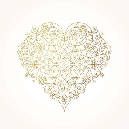 Coeur de vecteur orné dans le style de ligne art. Elégant élément de design, lieu de texte. Illustration florale de dentelle pour des invitations de mariage, cartes de voeux, cartes de Saint-Valentin. Motif de contour d'or.