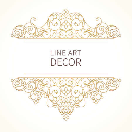Vector floral vignette in Eastern style. Ornate element for design. Lace horizontal decor. Golden ornament for invitations, birthday and greeting cards, thank you message, certificate, logo template.