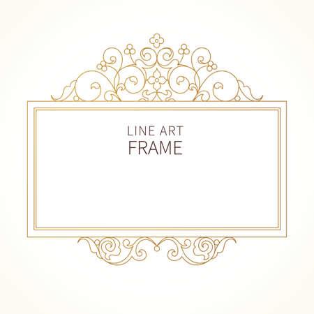 decorative line: Vector decorative line art frame for design template. Elegant element in Eastern style. Golden outline floral border. Lace decor for invitations, greeting cards, certificate, thank you message. Illustration