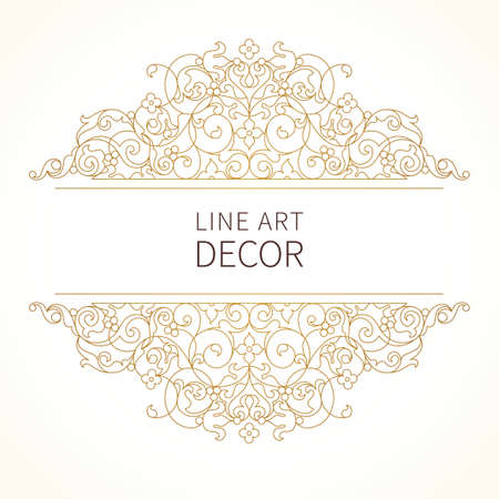 ベクトル東スタイルで花のビネット。デザインの華やかな要素です。レース横の装飾。招待状、誕生日やお礼のメッセージ、グリーティング カード  イラスト・ベクター素材