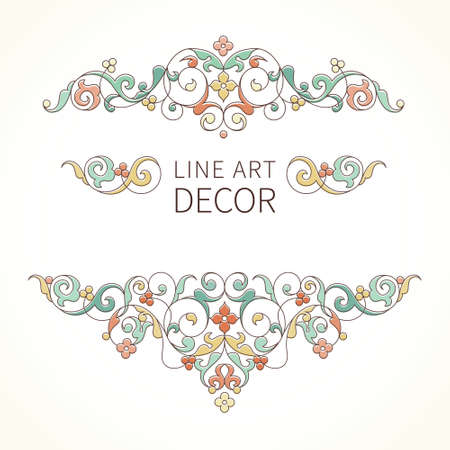horizontal line: Vector floral vignettes in Eastern style. Ornate line art element for design. Lace horizontal decor. Pastel ornament for invitations, birthday and greeting cards, thank you message, certificate.