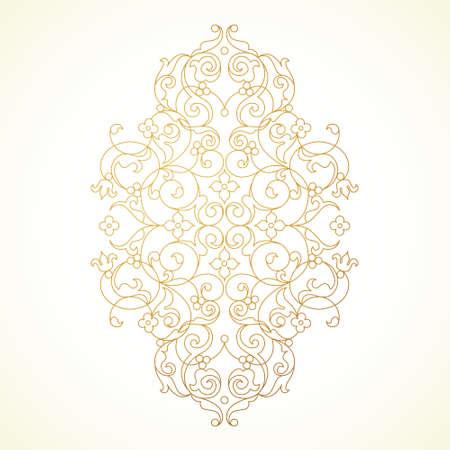 Vector vintage pattern in Eastern style. Ornate golden element for design. Oriental illustration. Floral ornament for wedding invitations, greeting cards. Traditional outline decor.