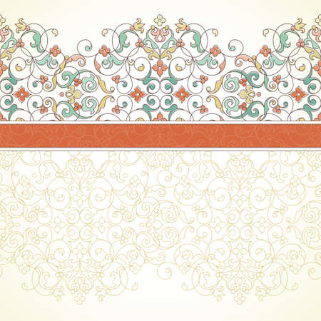 Vector ornate seamless border in Eastern style. Outline element for design. Pastel vintage pattern for wedding invitations, birthday and greeting cards. Traditional floral decor. Orange ribbon.