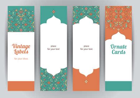 verschnörkelt: Vektor-Set von verzierten vertikale Karten im orientalischen Stil. Helle Eastern Blumen-Dekor. Vorlage Vintage-Rahmen für Grußkarten und Hochzeitseinladung. Labels und Tags mit Platz für Text.