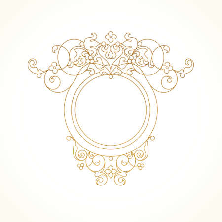 design frame: Vector decorative line art frame for design template. Elegant element in Eastern style. Golden outline floral border. Lace decor for invitations, greeting cards, certificate, thank you message. Illustration