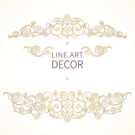 ベクトル東スタイルで花のビネット。華やかなライン デザインのアート要素です。レース横の装飾。招待状、誕生日やお礼のメッセージ、グリーテ