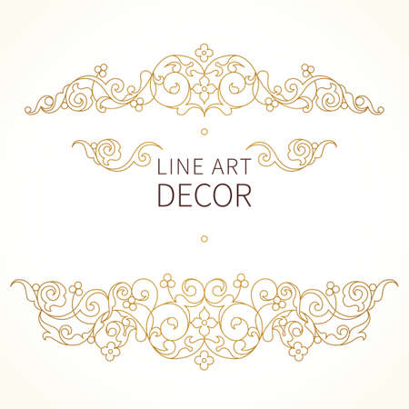 Vector floral vignette in Eastern style. Ornate line art element for design. Lace horizontal decor. Golden ornament for invitations, birthday and greeting cards, thank you message, certificate, logo template.