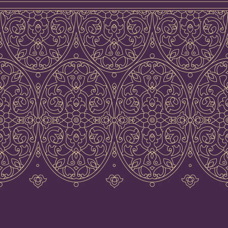 royal background: Vector ornate seamless border in Eastern style. Floral outline element for design. Line art vintage frame for invitations, birthday and greeting cards, certificate. Oriental beige decor.