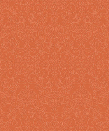 tracery: Vector seamless pattern with line art ornament. Orange vintage element for design in Eastern style. Ornamental lace tracery. Ornate floral decor for wallpaper. Endless texture. Outline pattern fill.