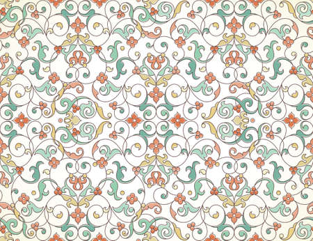 Vector seamless pattern with line art ornament. Vintage element for design in Eastern style. Ornamental lace tracery. Ornate floral decor for wallpaper. Endless texture. Outline pattern fill.
