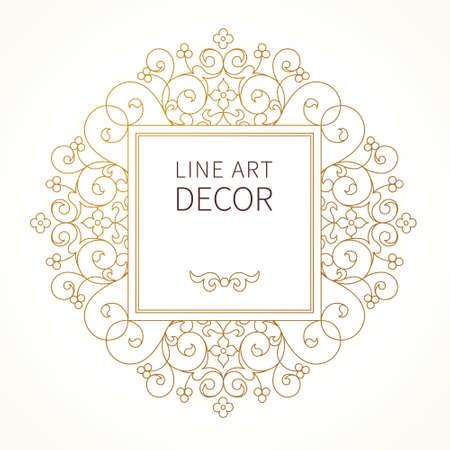 デザイン テンプレートのベクター装飾ライン アート フレーム。東部のスタイルでエレガントな要素です。黄金花外枠。招待状、グリーティング カ