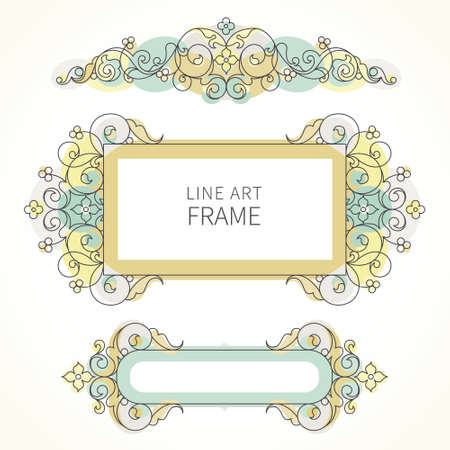 line art: Vector decorative line art frames for design template. Elegant element in Eastern style. Pastel outline floral border. Lace decor for invitations, greeting cards, certificate, thank you message.