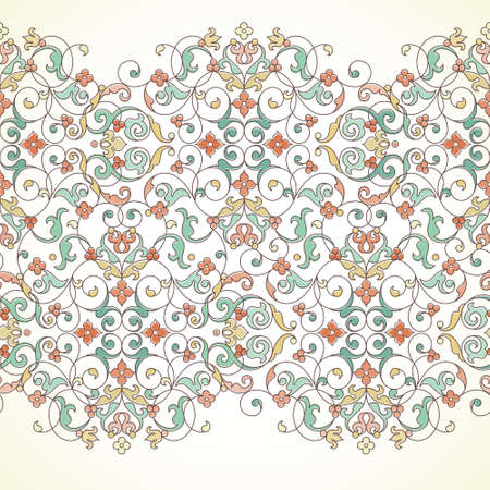 royal frame: Vector ornate seamless border in Eastern style. Outline element for design. Pastel vintage pattern for invitations, birthday and greeting cards, certificate. Traditional outline decor.