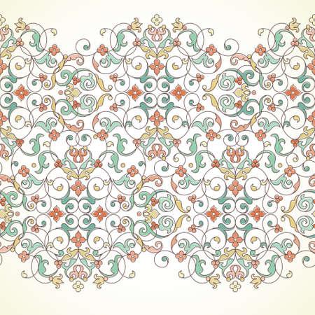 Vector sierlijke naadloze grens in Oost-stijl. Schetsen element voor ontwerp. Pastel vintage patroon voor uitnodigingen, verjaardag en wenskaarten, certificaat. Traditionele overzicht decor.