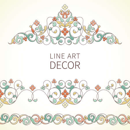vignettes: Vector ornate seamless borders and vignette in Eastern style. Outline element for design. Pastel vintage pattern for invitations, birthday and greeting cards, certificate. Traditional colorful decor. Illustration