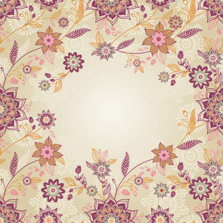 floral border: Vintage background with swirls and floral motifs in eastern style. Template frame design for retro wedding card. Floral vector border in pastel colors. Place for your text. Save the date.