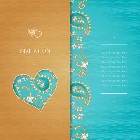 ornate background: Vintage greeting card with swirls and floral motifs in eastern style. Bright background in persian style. Template design for wedding invitation and greeting cards. Place for your text. Save the date.