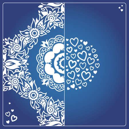corazones azules: tarjetas de felicitación de la vendimia con remolinos y motivos florales en el este estilo. Diseño del marco del modelo para la tarjeta retro boda. Contraste Frontera del vector en estilo clásico. Lugar para el texto. Reserva.