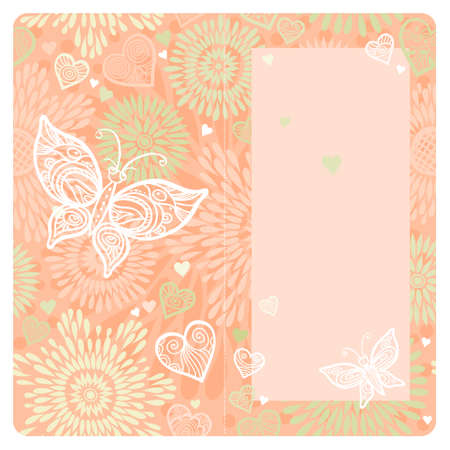 butterfly stroke: Invitation card with lace ornament, butterfly and large heart. Template frame design for wedding and greeting card. Pink vector border in romantic style. Place for your text. Save the date.