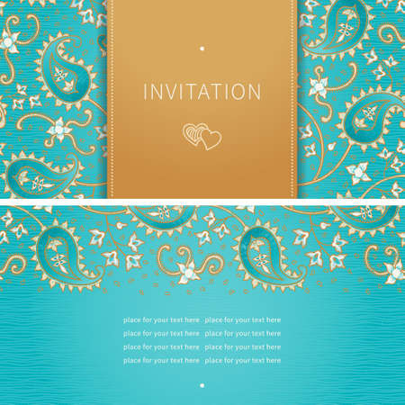 delicate arabic motif: Vintage greeting card with swirls and floral motifs in eastern style. Bright background in persian style. Template design for wedding invitation and greeting cards. Place for your text. Save the date.