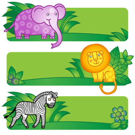 bookmarks: Bright cards with cute animals from jungle. Place for your text. Template for invitation, greeting cards, bookmarks.