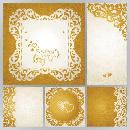 scroll design: Vintage greeting cards with swirls and floral motifs in east style. Template frame design for retro wedding card. Golden vector border in Victorian style. Place for your text. Save the date.